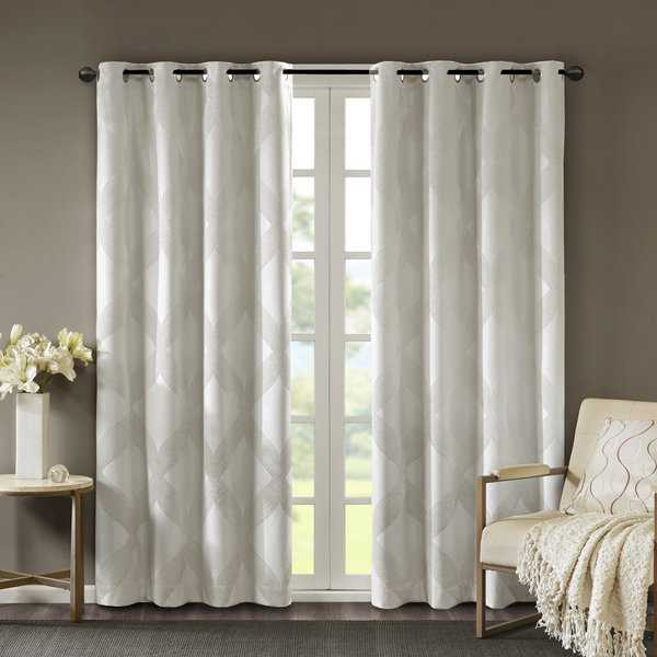 SunSmart Abel Ogee Knitted Jacquard Total Blackout Curtain Panel