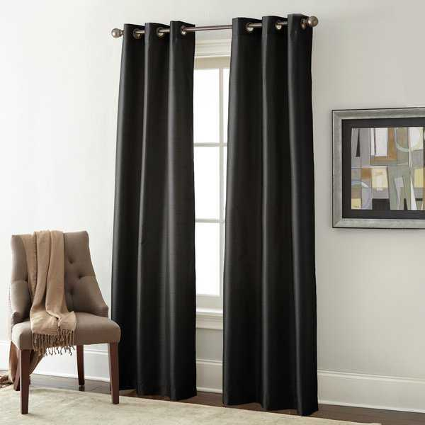 Amrapur Overseas Faux Silk Blackout Curtain Panel Pair