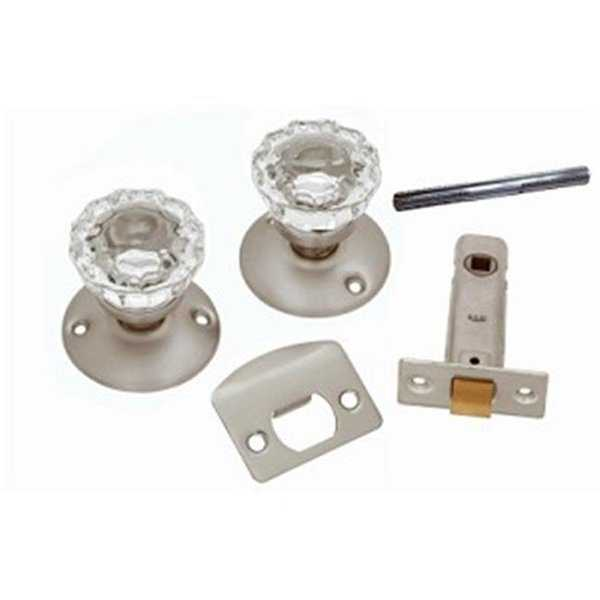 Passage Door Latch Set, Glass Knobs - Satin Nickel