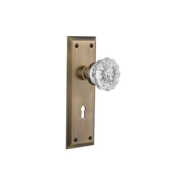 Nostalgic Warehouse NYKCRY_PRV_238_KH Crystal Solid Brass Privacy Knob Set with New York Rose, Keyhole and 2-3/8' Backset - N/A
