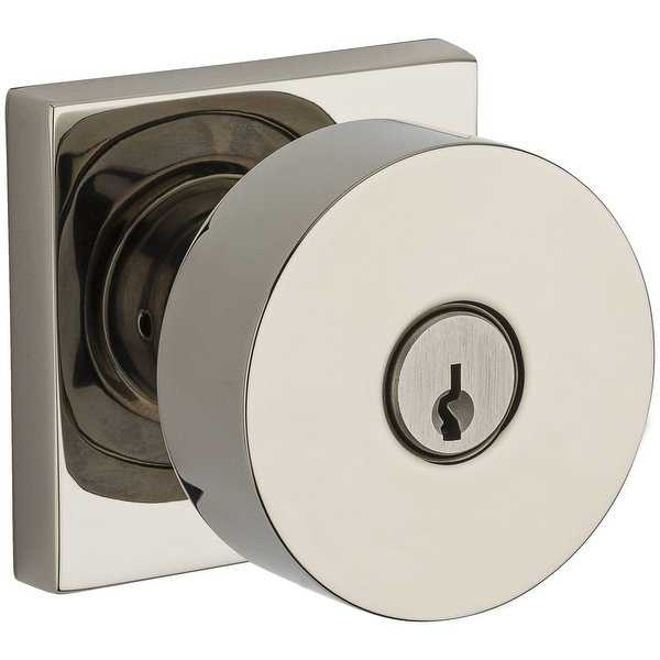 Baldwin EN.CON.CSR Modern Single Cylinder Keyed Entry Door Knob Set with Modern Square Trim from the Reserve Collection - N/A