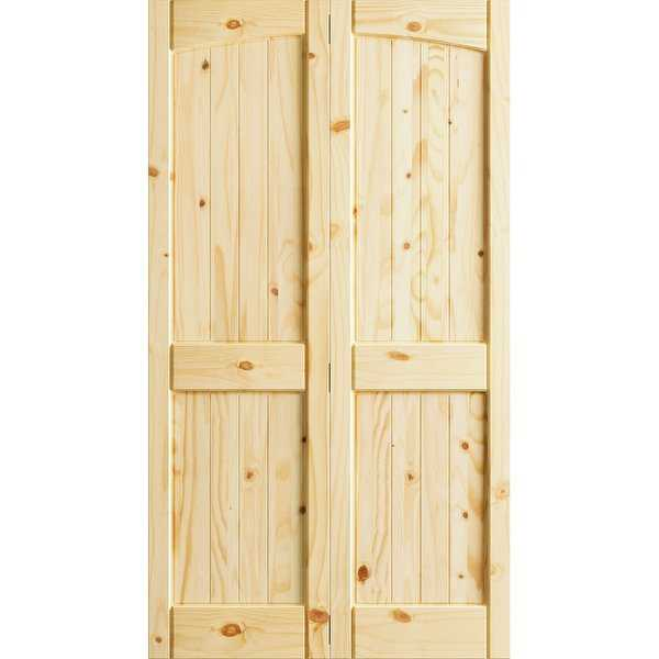 Frameport KPN-BI-NR4P-6-2/3X3-H Knotty Pine 36' by 80' Rebated 4 Panel Arch Top Interior Bi-Fold Door with Installation Hardware