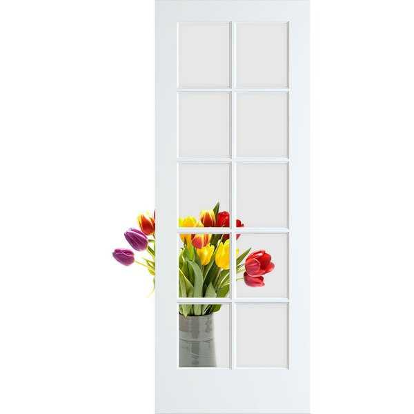 Frameport CGL-PD-10L-6-2/3X2-2/3 Clear Glass 32' by 80' 10 Lite Interior French Door - Primed - N/A