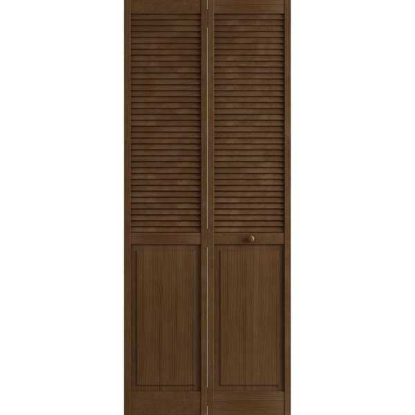Frameport CLS-BI-NDLP-6-2/3X2-1/2-H Classic 30' by 80' Double Hip Louver/Panel Interior Bi-Fold Door with Installation Hardware