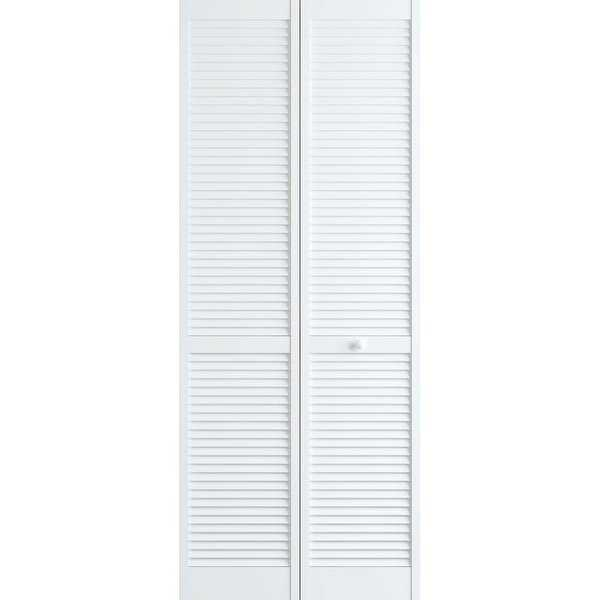 Frameport CLS-BI-NL-6-2/3X2-2/3-H Classic 32' by 80' Louver/Louver Interior Bi-Fold Door with Installation Hardware - N/A